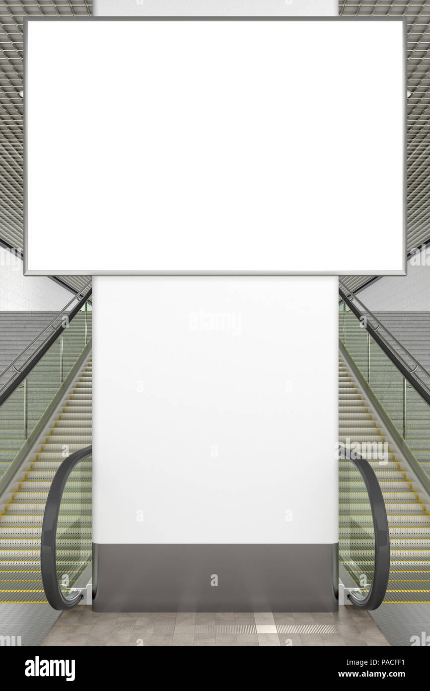 Blank advertising horizontal poster mockup. Indoor or underground. 3d illustration - Stock Image