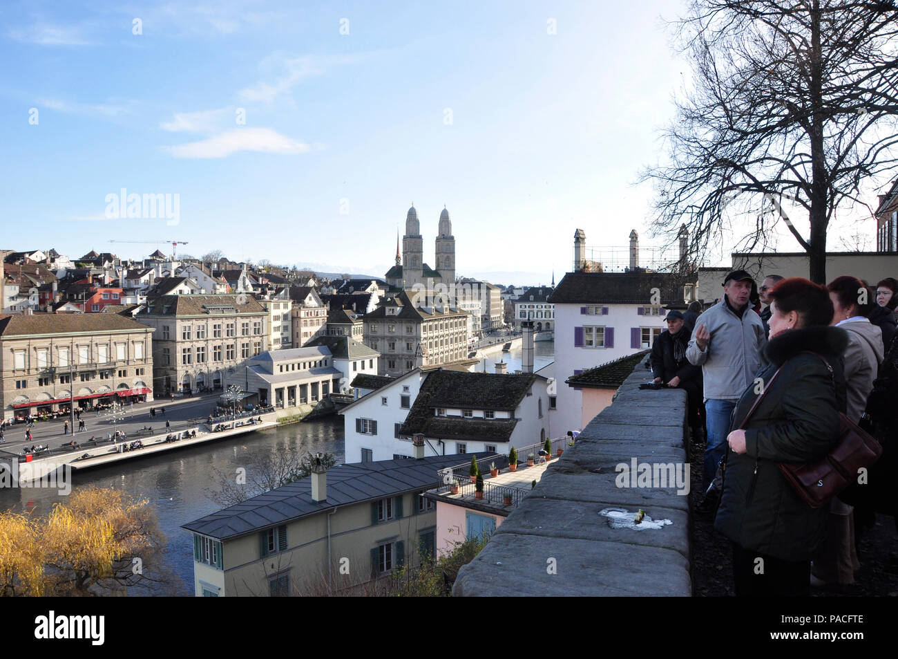 The Linden-Hof in the heart of the old town of Zürich is an attractiv tourist spot, where the city-guides show the visitors the center of Zürich - Stock Image