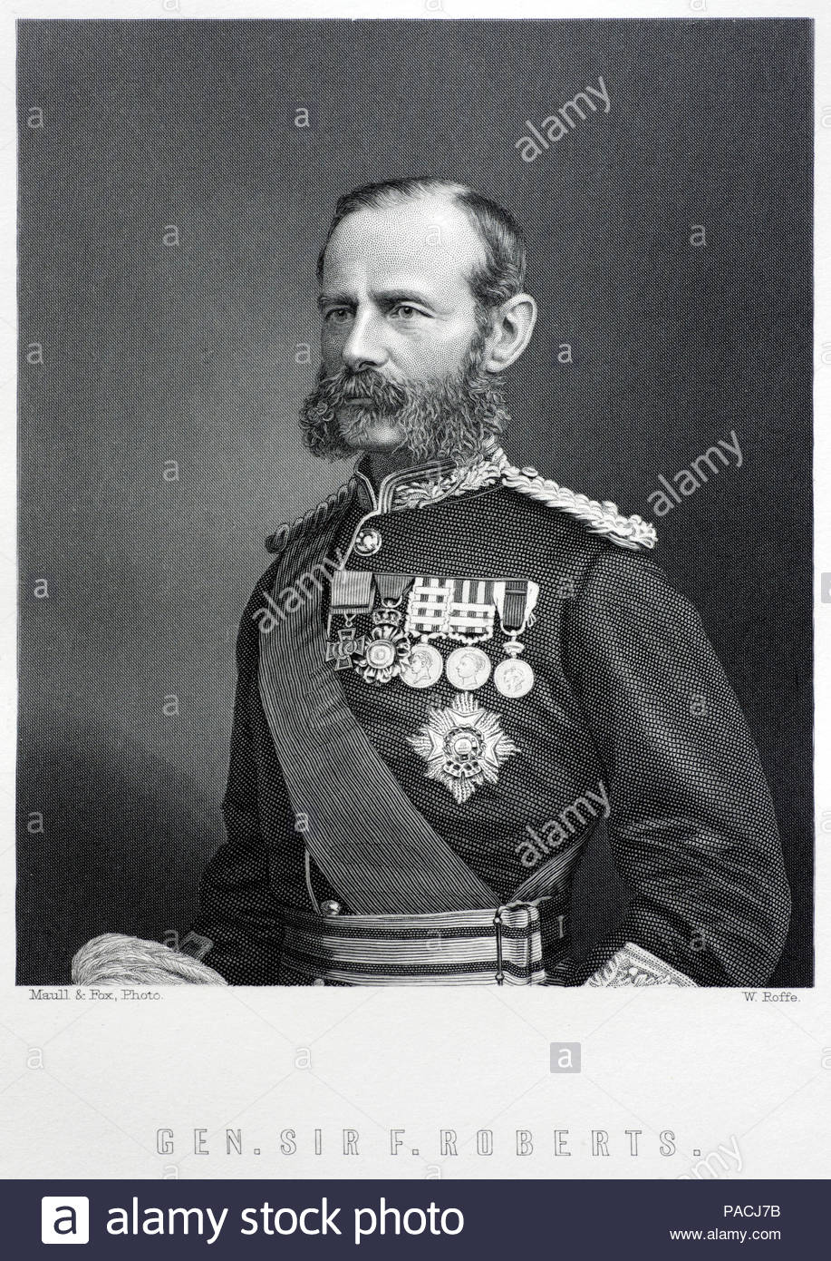 Sir Frederick Sleigh Roberts, 1st Earl Roberts, 1832 – 1914 was a British soldier who was one of the most successful commanders of the 19th century, antique engraving from 1884 - Stock Image