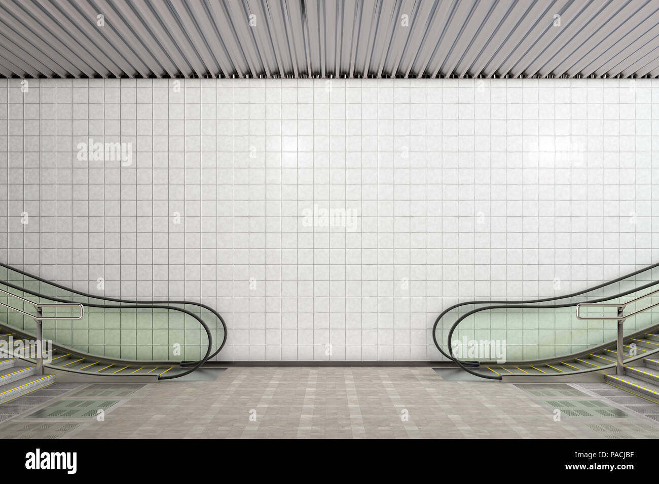 Blank Wall Underground For Advertising Poster Mockup 3d