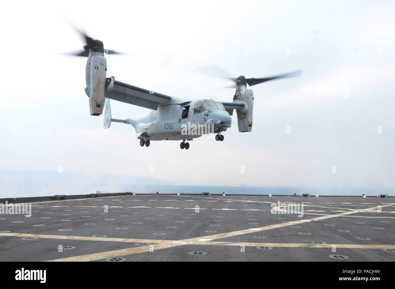 160314-N-WJ640-046 POHANG, South Korea (March 14, 2016) An MV-22 aircraft lands on-board dry cargo/ammunition ship USNS Sacagawea (T-AKE 2) during flight operations, March 14. The Sacagewea was one of three MPF ships that offloaded her cargo in support of Exercise Ssang Yong 16, under the Exercise Freedom Banner 2016 directive. (U.S. Navy photo by Mass Communication Specialist 3rd Class Madailein Abbott/Released) Stock Photo