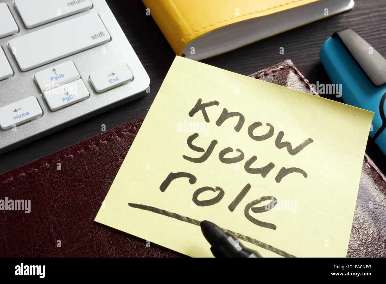 Know your role written on a memo stick. Inspiration. - Stock Image