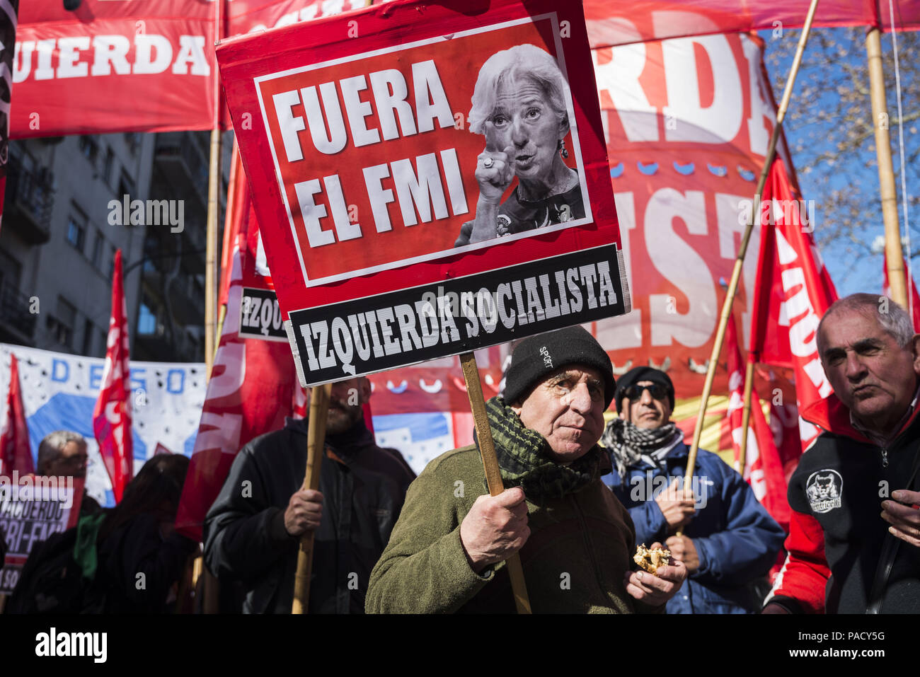 Buenos Aires, Argentina. 21st July, 2018. Social and political organization protest against the G-20 and the director of IMF (International Monetary Fund) meeting in Buenos Aires. Credit: Julieta Ferrario/ZUMA Wire/Alamy Live News Stock Photo