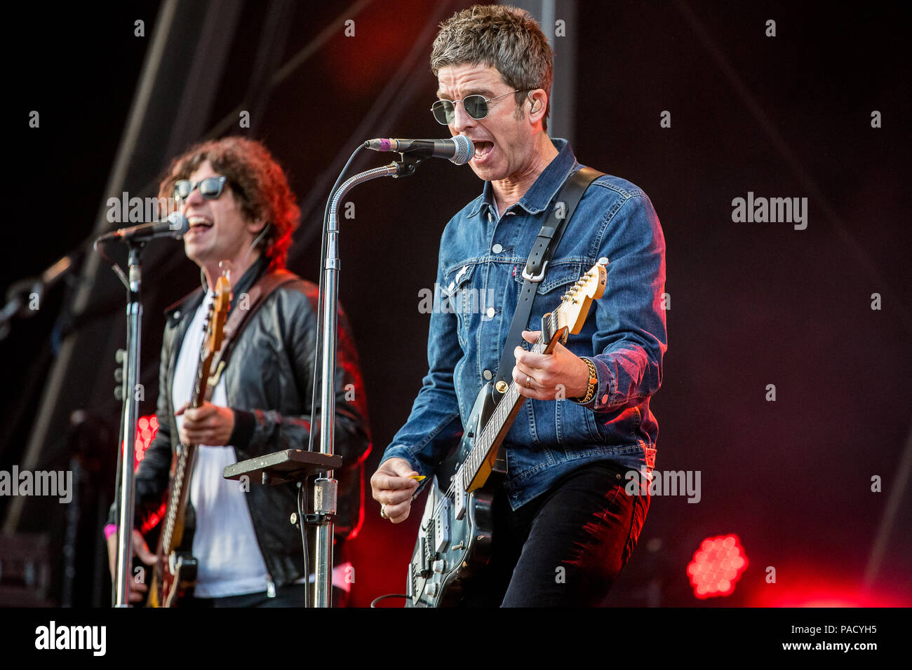 Noel Gallagher performs live on stage with Noel Gallagher's High Flying Birds at the Tramlines Festival in Sheffield, UK, 2018. Stock Photo