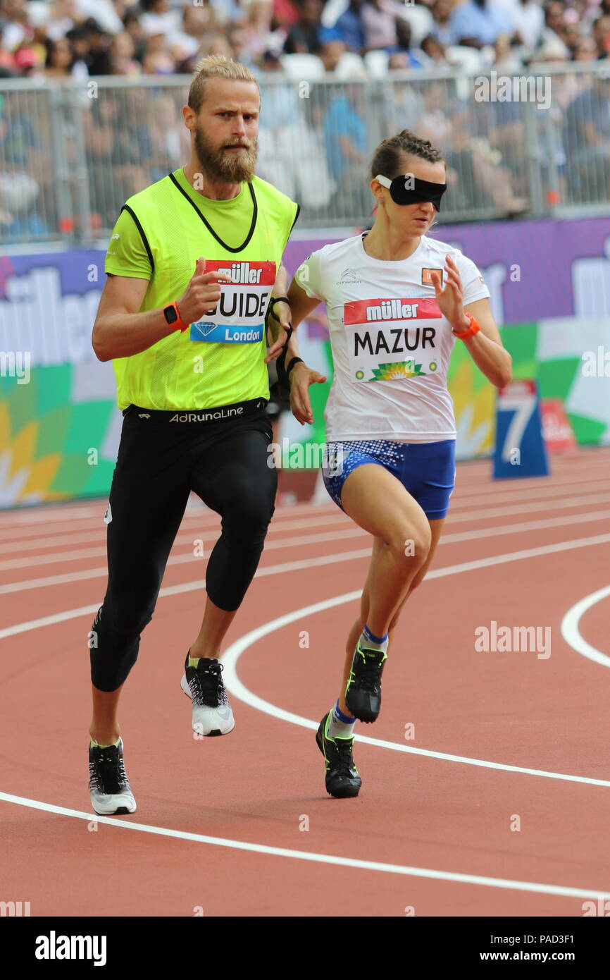 London, UK. 21st July, 2018. Joanna MAZUR (POL) competing in the Women's T11 200m at the IAAF Diamond League, Muller Anniversary Games, Queen Elizabeth Olympic, LONDON, UK 21 July 2018 Credit: Grant Burton/Alamy Live News - Stock Image
