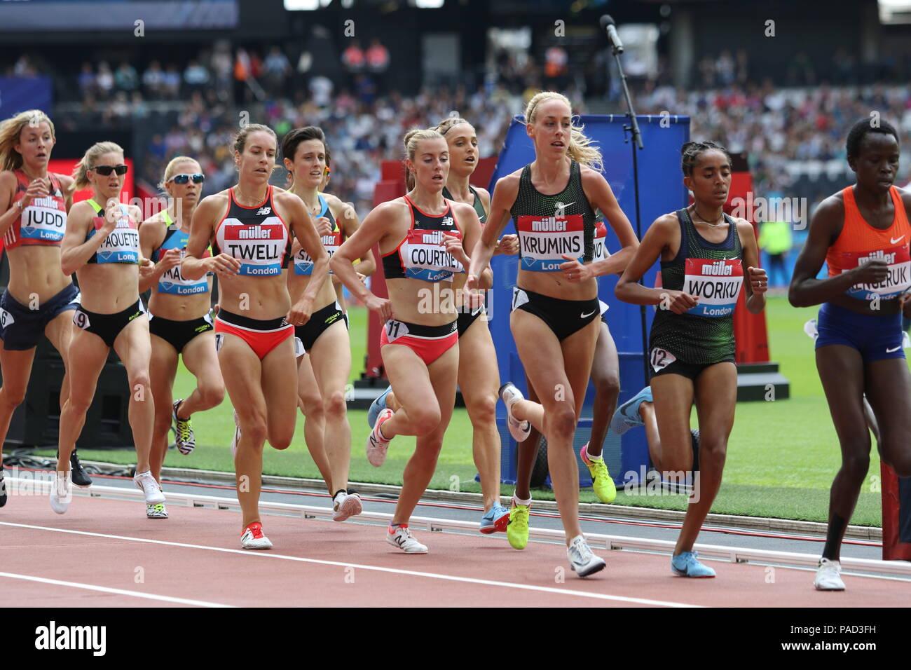London, UK. 21st July, 2018. Women's 3000m at the IAAF Diamond League, Muller Anniversary Games, Queen Elizabeth Olympic, LONDON, UK 21 July 2018 Credit: Grant Burton/Alamy Live News - Stock Image