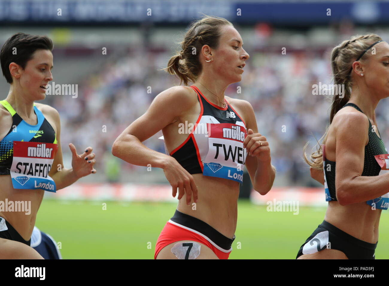 London, UK. 21st July, 2018. Stephanie TWELL (GBR) competing in the Women's 3000m at the IAAF Diamond League, Muller Anniversary Games, Queen Elizabeth Olympic, LONDON, UK 21 July 2018 Credit: Grant Burton/Alamy Live News - Stock Image