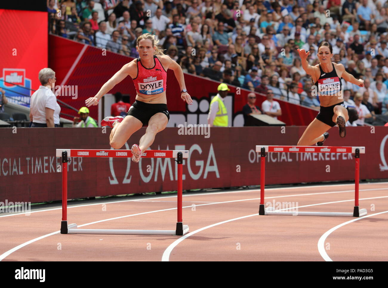 London, UK. 21st July, 2018. Eilidh DOYLE (GBR) competing in the Women's 400m Hurdles at the IAAF Diamond League, Muller Anniversary Games, Queen Elizabeth Olympic, LONDON, UK 21 July 2018 Credit: Grant Burton/Alamy Live News - Stock Image