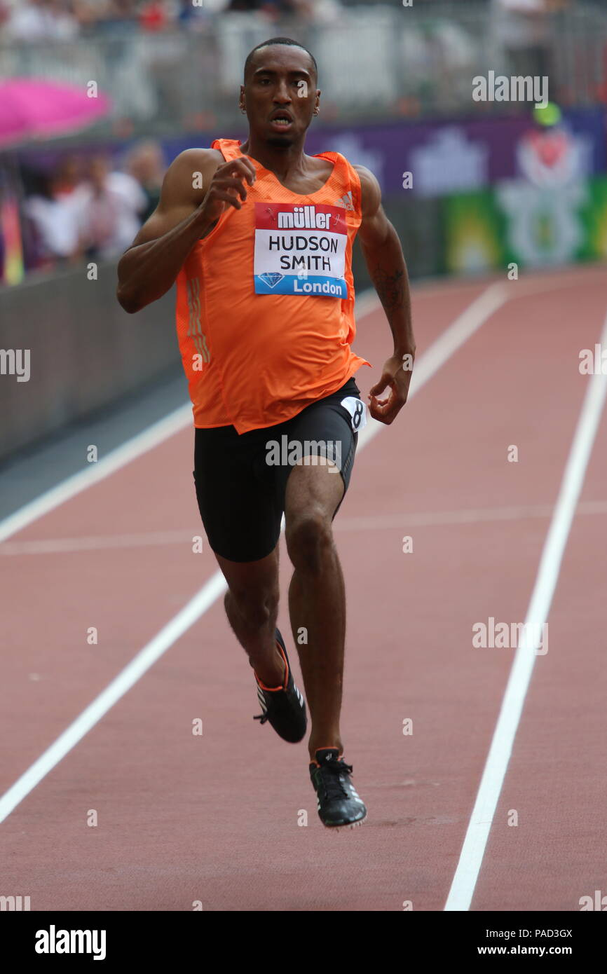London, UK. 21st July, 2018. Matthew HUDSON-SMITH (GBR) competing in the Men's 400m at the IAAF Diamond League, Muller Anniversary Games, Queen Elizabeth Olympic, LONDON, UK 21 July 2018 Credit: Grant Burton/Alamy Live News - Stock Image