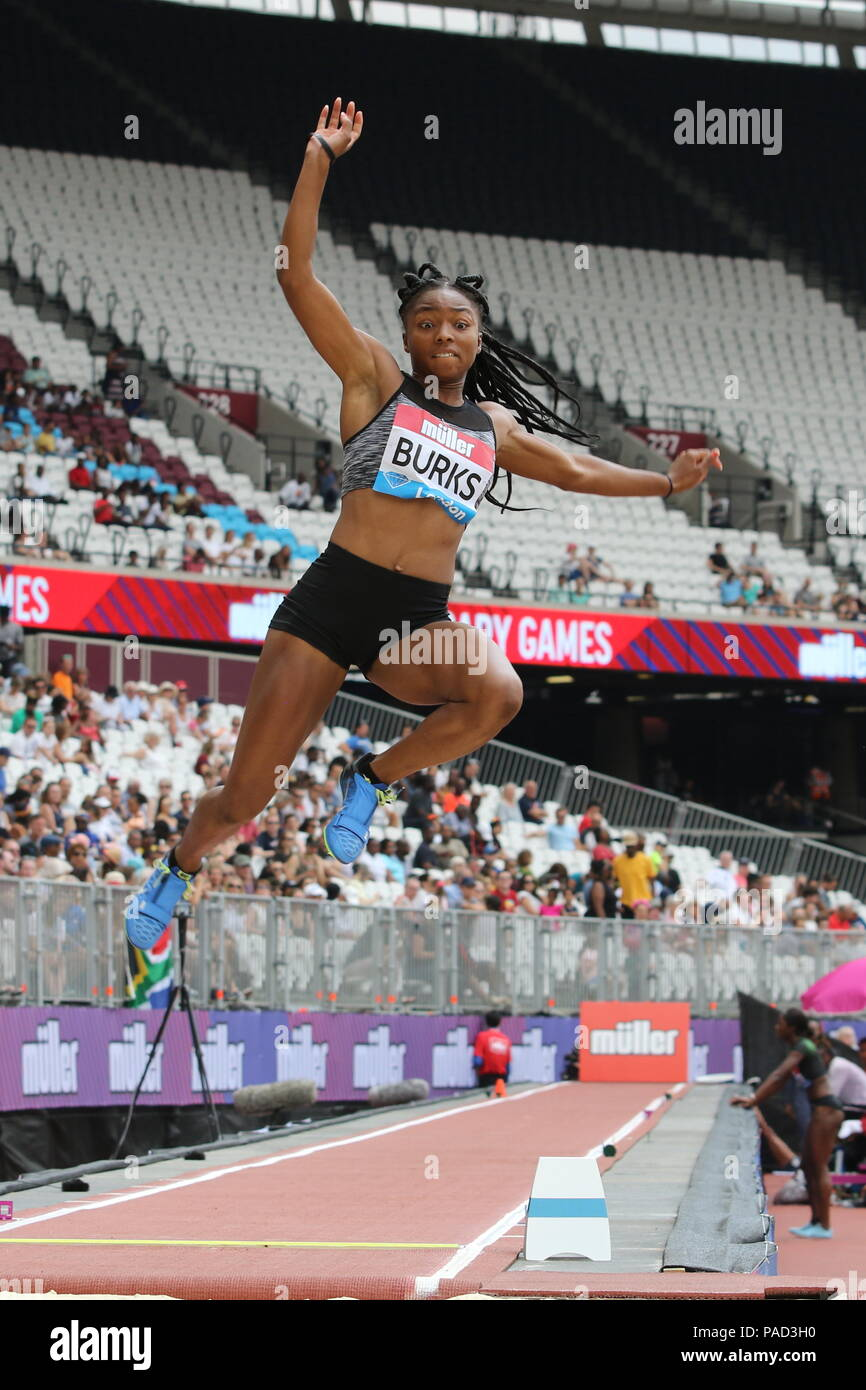 London, UK. 21st July, 2018. Quanesha BURKS ( USA) competing in the Women's Long Jump at the IAAF Diamond League, Muller Anniversary Games, Queen Elizabeth Olympic, LONDON, UK 21 July 2018 Credit: Grant Burton/Alamy Live News - Stock Image