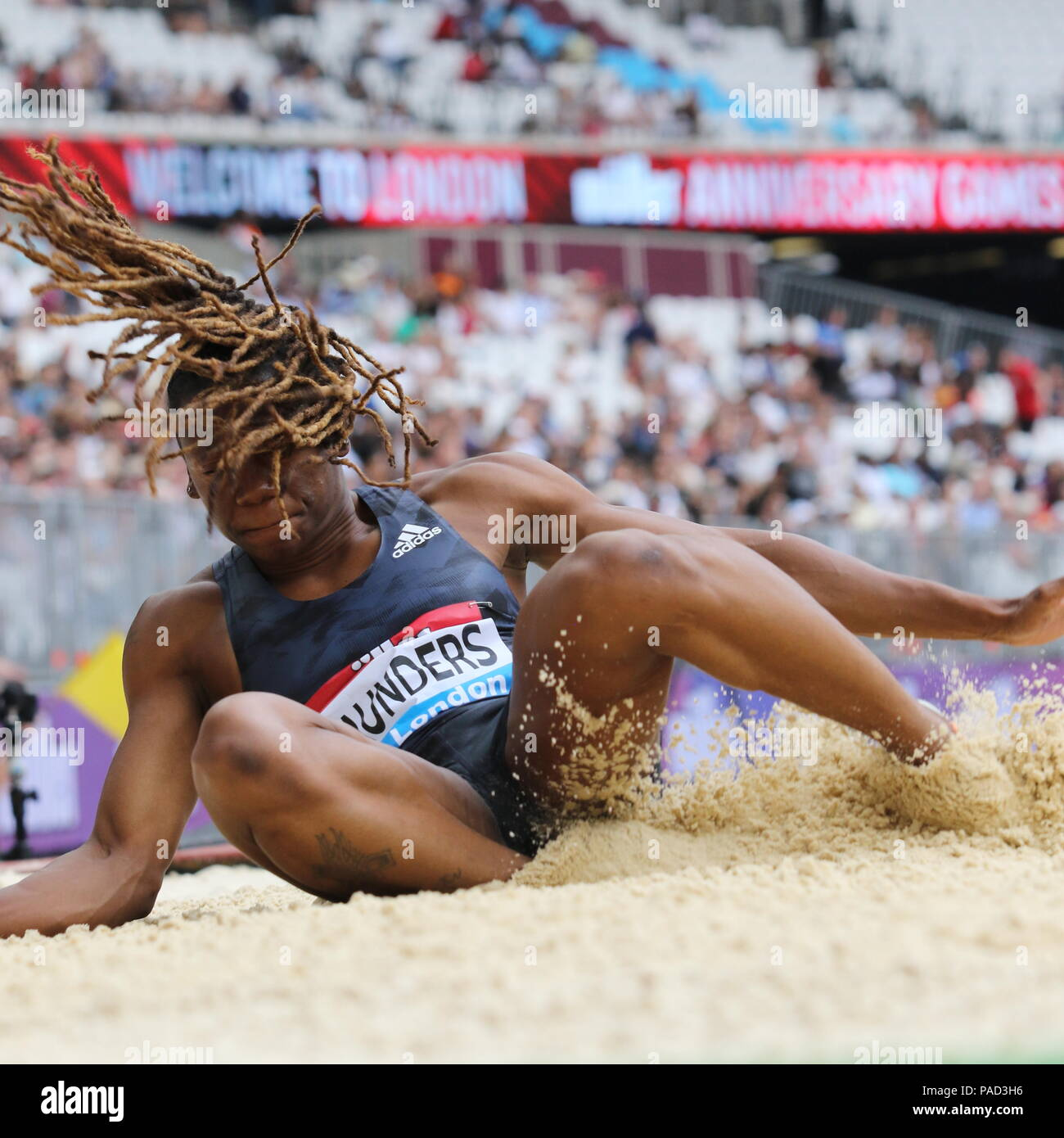 London, UK. 21st July, 2018. Sha'Keela SAUNDERS (USA) competing in the Women's Long Jump at the IAAF Diamond League, Muller Anniversary Games, Queen Elizabeth Olympic, LONDON, UK 21 July 2018 Credit: Grant Burton/Alamy Live News - Stock Image