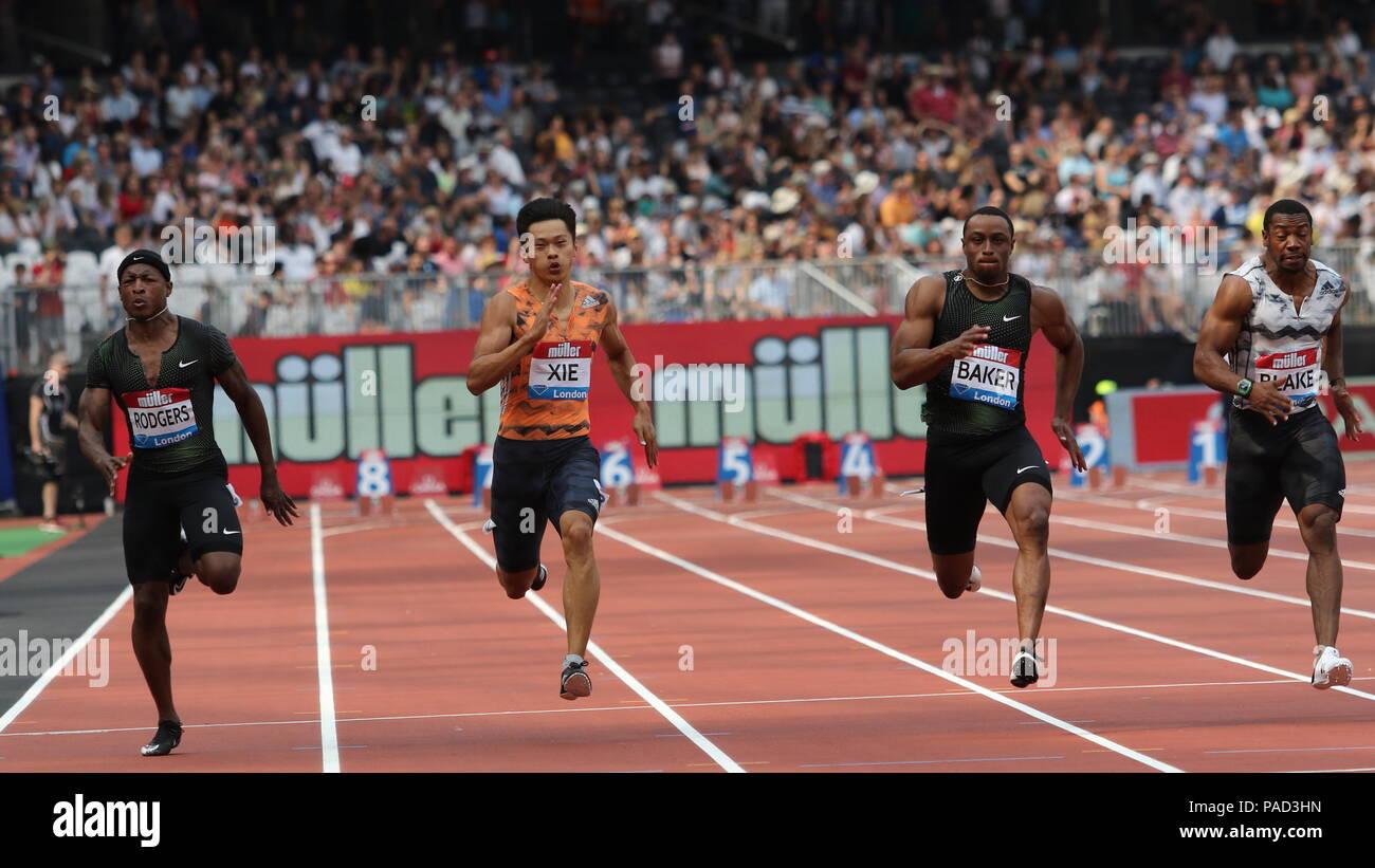London, UK. 21st July, 2018. Men's 100m Final at the IAAF Diamond League, Muller Anniversary Games, Queen Elizabeth Olympic, LONDON, UK 21 July 2018 Credit: Grant Burton/Alamy Live News - Stock Image