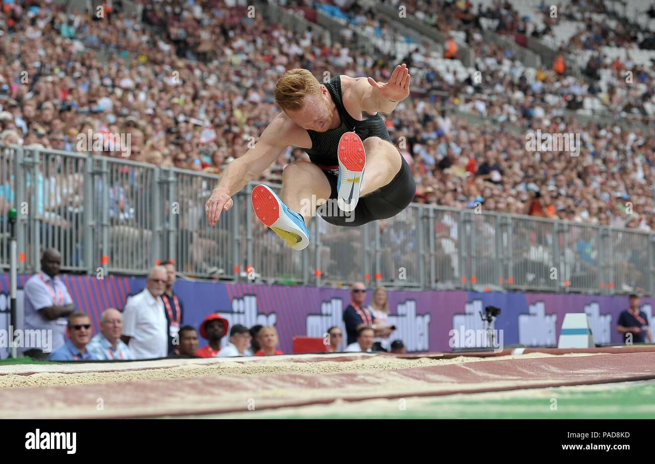 London, UK. 22 July 2018. Greg Rutherford in his final appearance at the stadium. Muller Anniversary Games. IAAF Diamond League. Olympic Stadium. Queen Elizabeth Olympic Park. Stratford. London. UK. 22/07/2018. Credit: Sport In Pictures/Alamy Live News - Stock Image