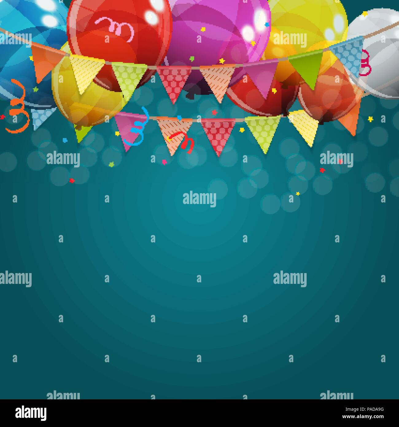 Color Glossy Happy Birthday Balloons Banner Background Vector Illustration - Stock Image
