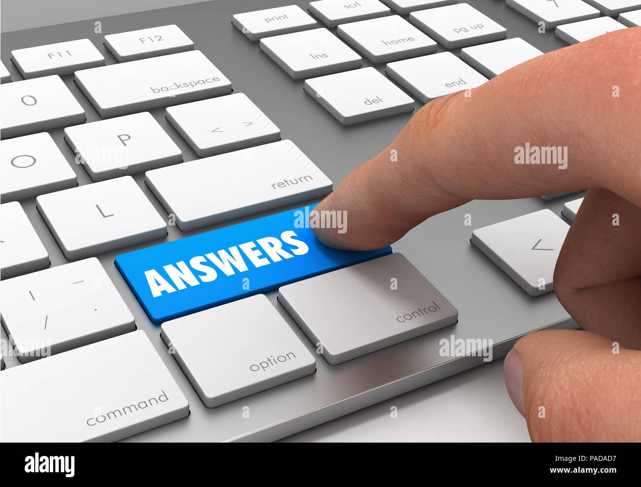 answers button concept 3d illustration - Stock Image