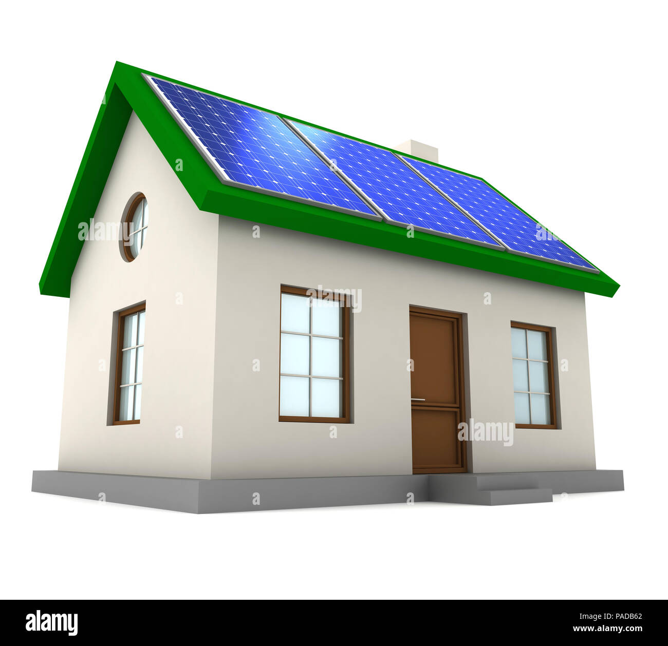 house with solar panel concept 3d illustration - Stock Image