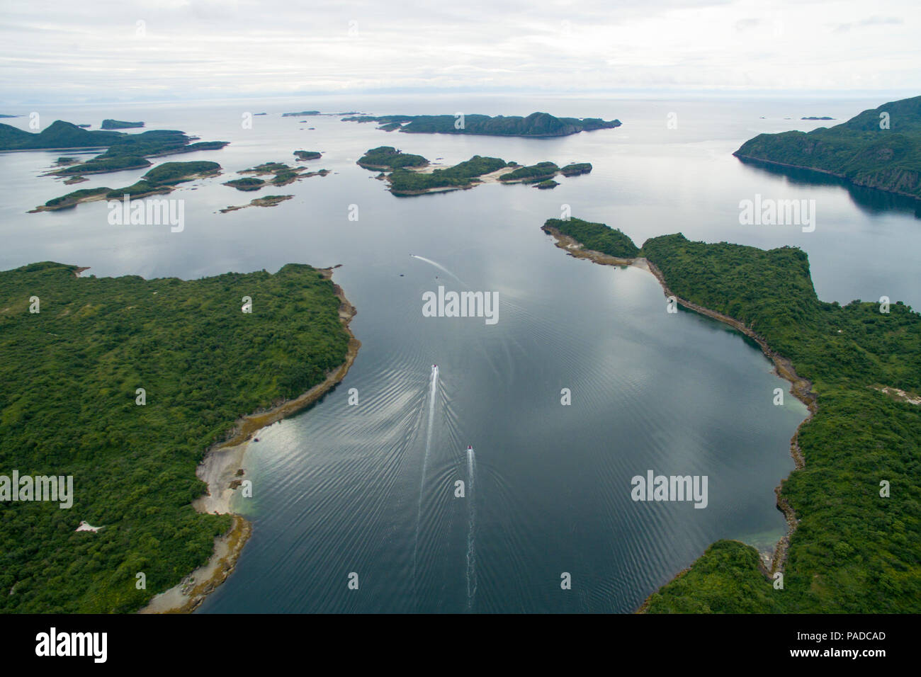 Two small boats in Geographic Harbor, Alaska, USA - Stock Image