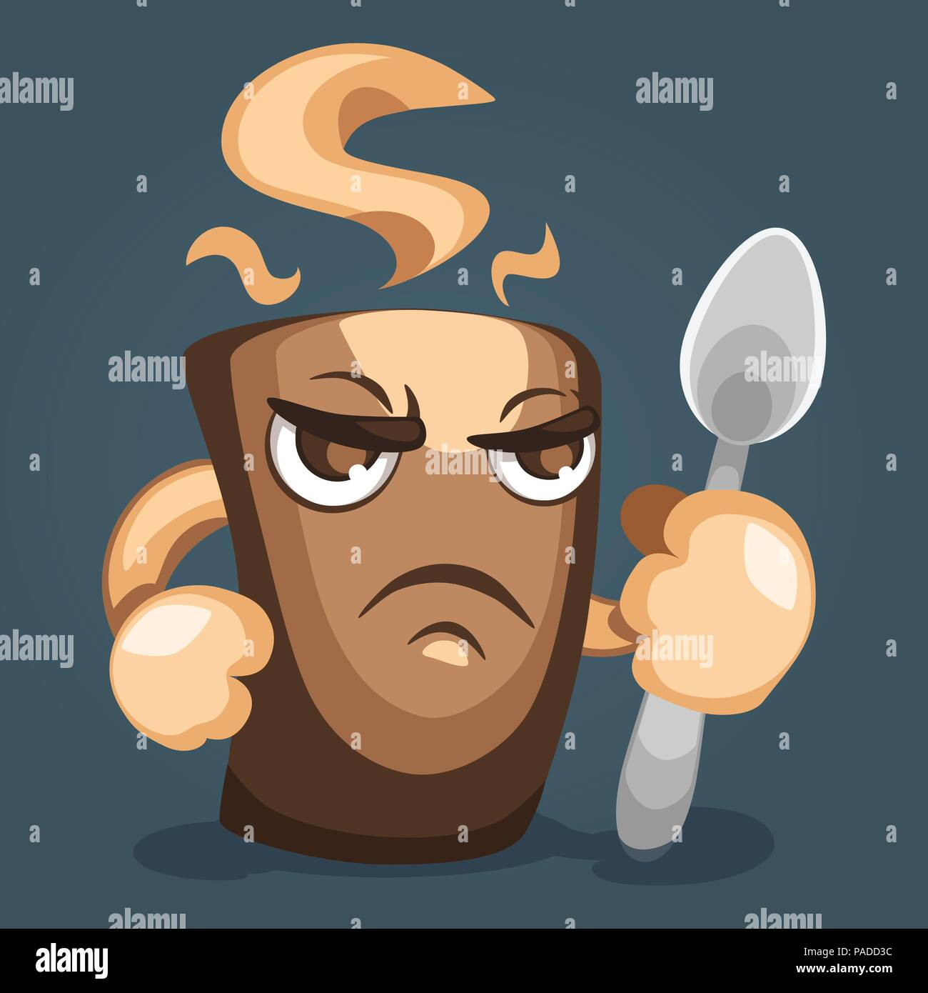 Illustration of a fearsome coffee mug with  fist and  spoon in hand, side view. Cartoon character design - Stock Vector