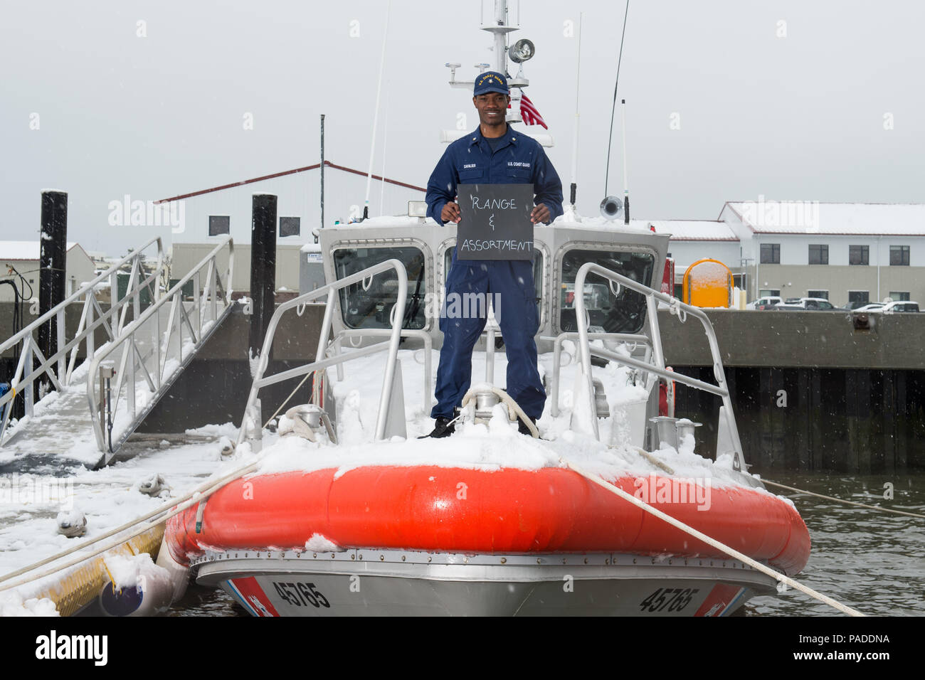 "1. What is your name and what do you do in the Coast Guard?  'I'm Sean-Paul Cavalier and I'm a boatswain mate at Station Cape May. I've been a BM for about a year now.'     2. Describe diversity in a word or two and explain what it means to you.  'I chose ""Range & Assortment"" for my two words. I said range because in the Coast Guard I have shipmates from all around the world, many miles away from their homes. I said assortment because we have many nationalities and religions in the Coast Guard. If you met a new shipmate today, that person would be different from the one you met yesterday.'     - Stock Image"