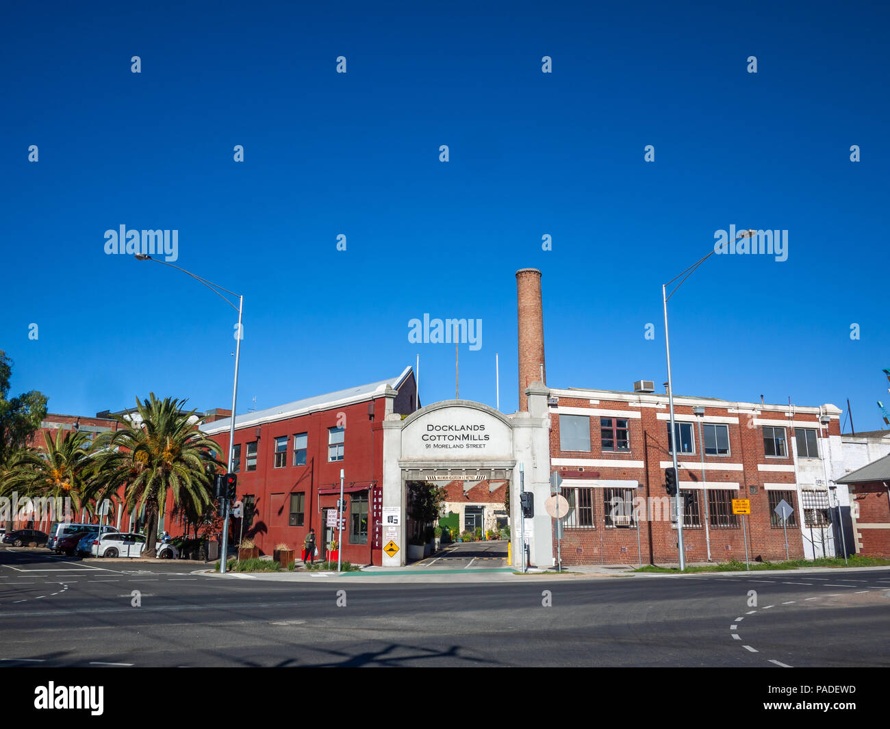 Building of Docklands Cotton Mills. The warehouse has been converted into a boutique development with a mix of commerce, IT and creative residents. - Stock Image