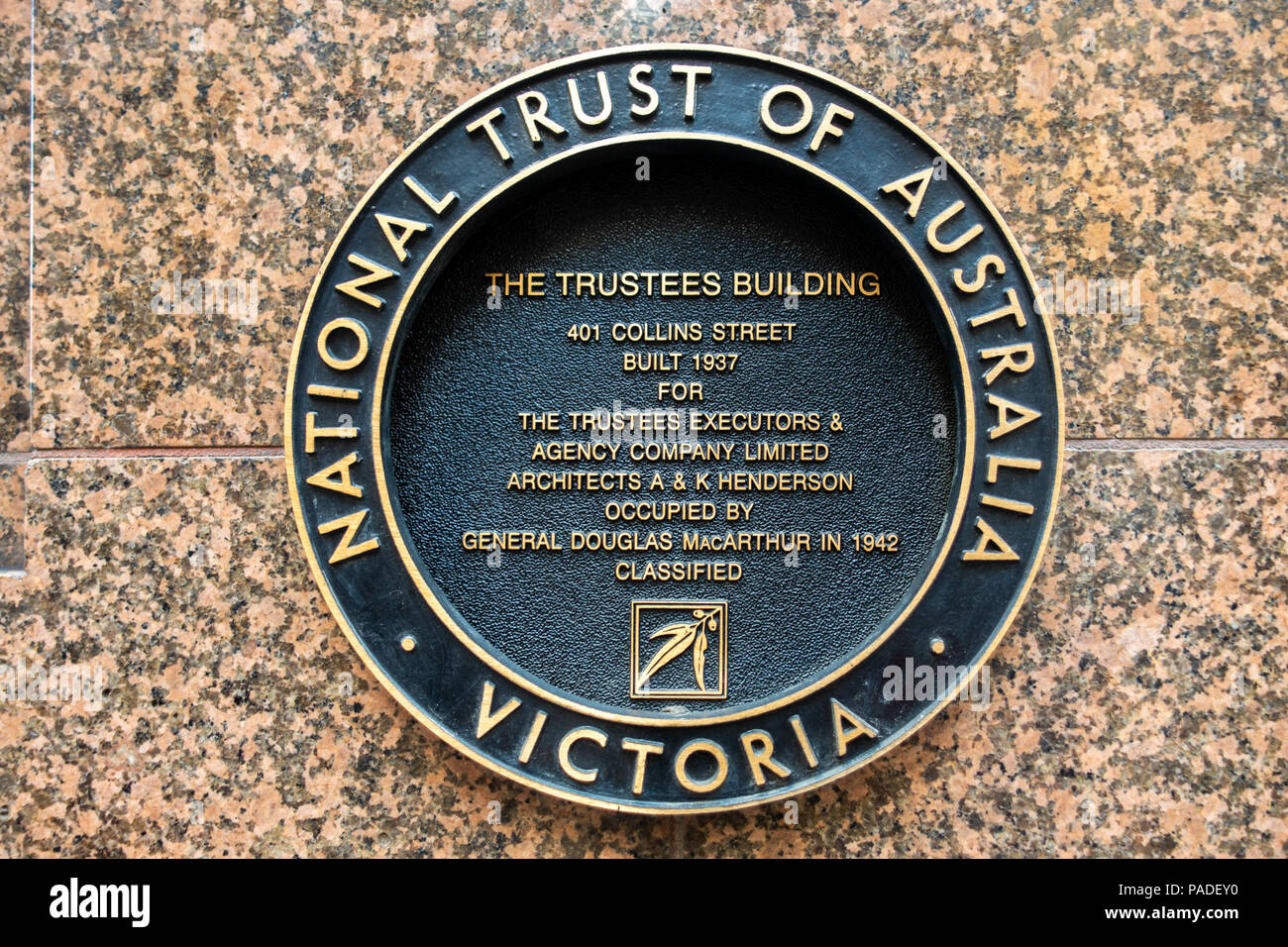 Sign of National Trust of Australia on the historic Trustees Building at 401 Collins Street. City of Melbourne, VIC Australia. - Stock Image