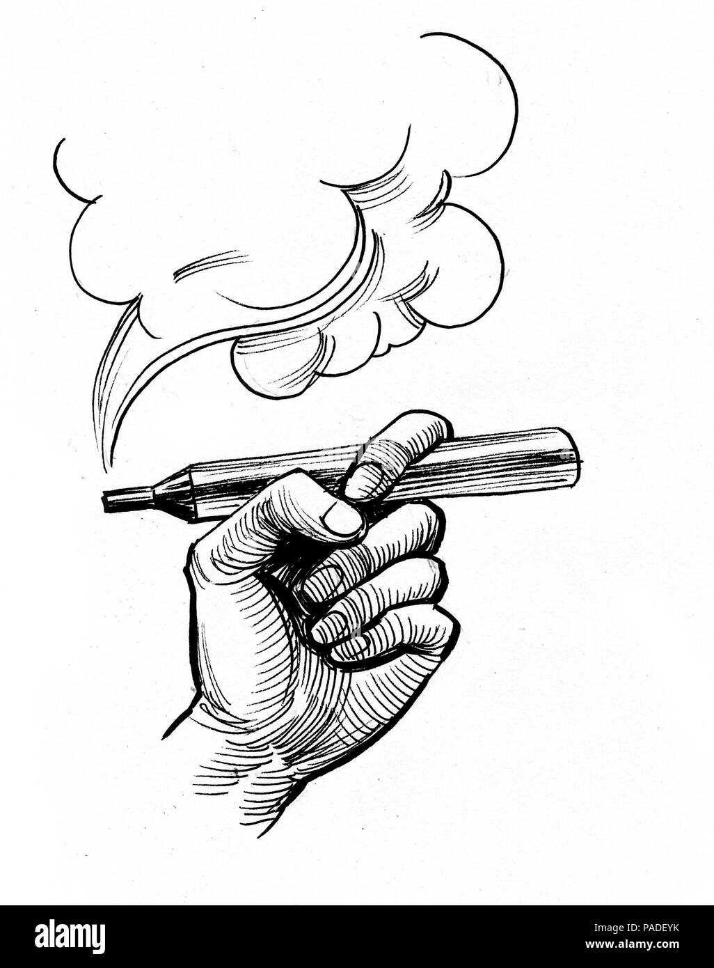 Hand holding vaporizer. Ink black and white illustration - Stock Image