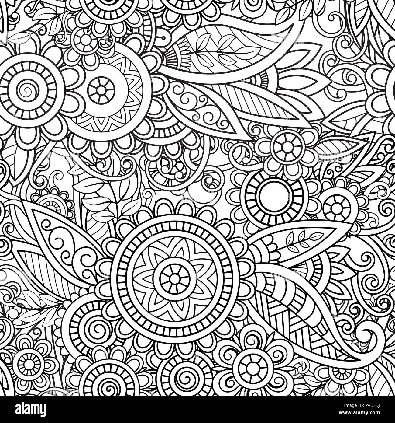 flower mandalas adult coloring book white background