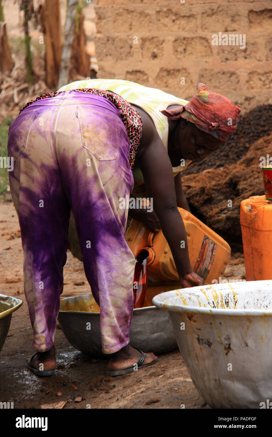 Women working at a Palm Oil Factory near Cape Coast, Ghana - Stock Image
