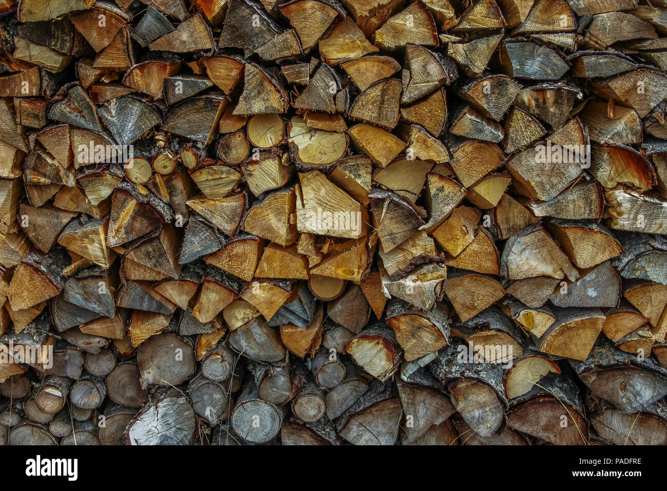 Closeup of a pile of firewood stacked ready for the winter image with copy space Stock Photo