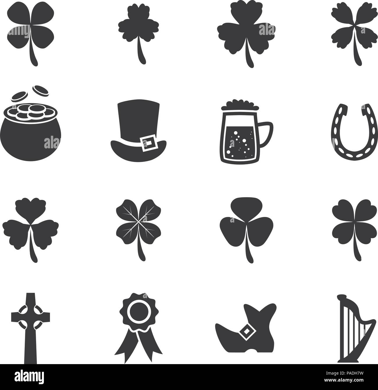 Vector set of black and white flat irish st patricks day icons such as clover shamrocks celtic cross lucky horseshoe golden pot full of coins bo