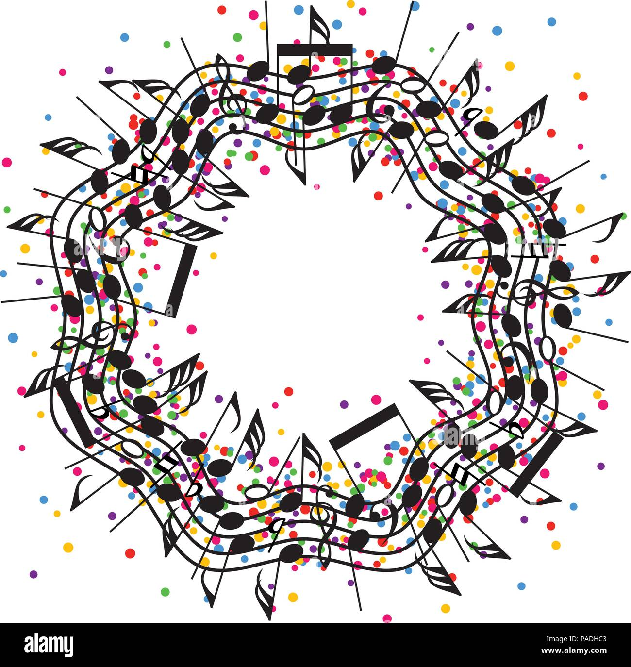 Vector Round Colorful Background Of Music Notes On Wavy Staves