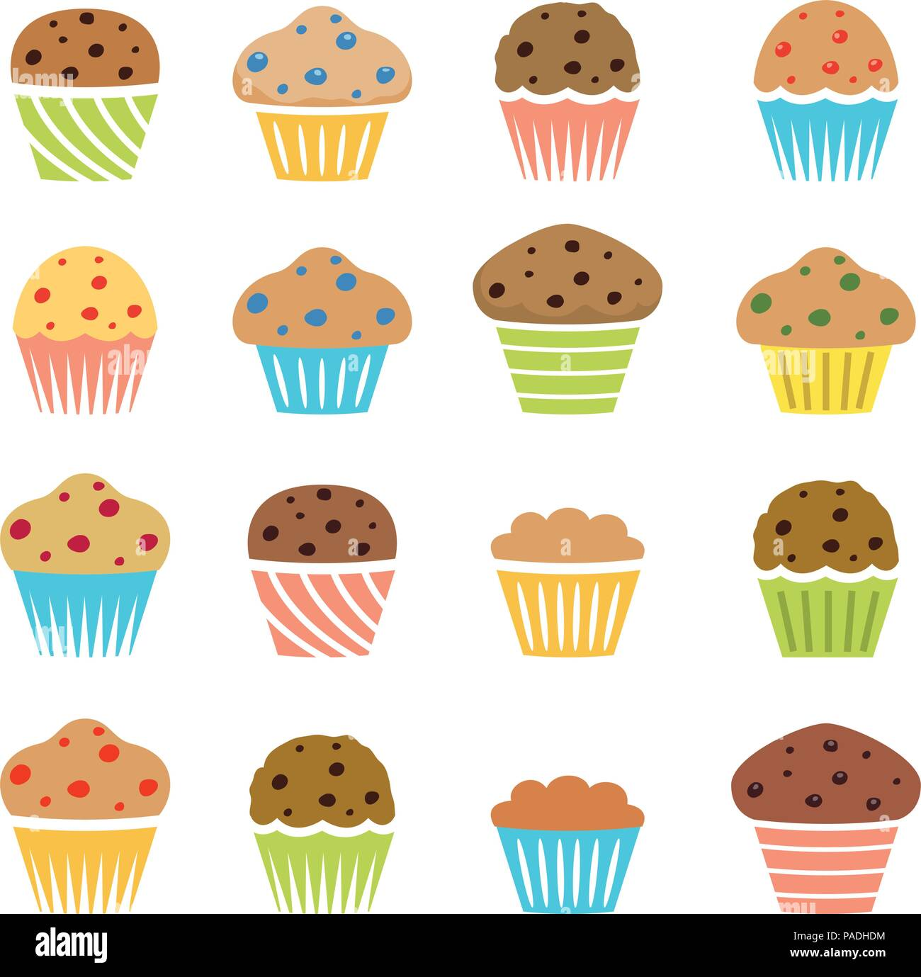 Vector Flat Icons Of Chocolate Chip And Fruit Muffins Isolated On White Background Symbols Of Dessert Homemade Cakes Stock Vector Image Art Alamy