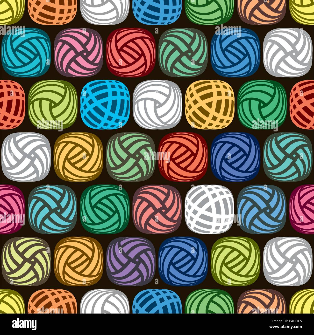 vector seamless abstract pattern of colorful yarn balls on black background, illustration of wool knitting hobby - Stock Vector