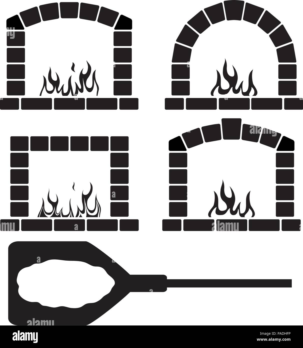 vector black and white clipart set of ovens with burning fire and pizza on a shovel symbol, pizzeria or restaurant graphic design - Stock Vector