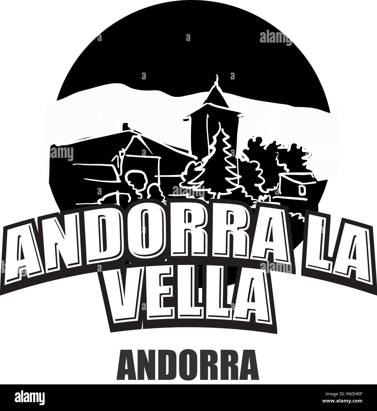Andorra la Vella black and white logo for high quality prints. Hand drawn vector sketch. Stock Vector