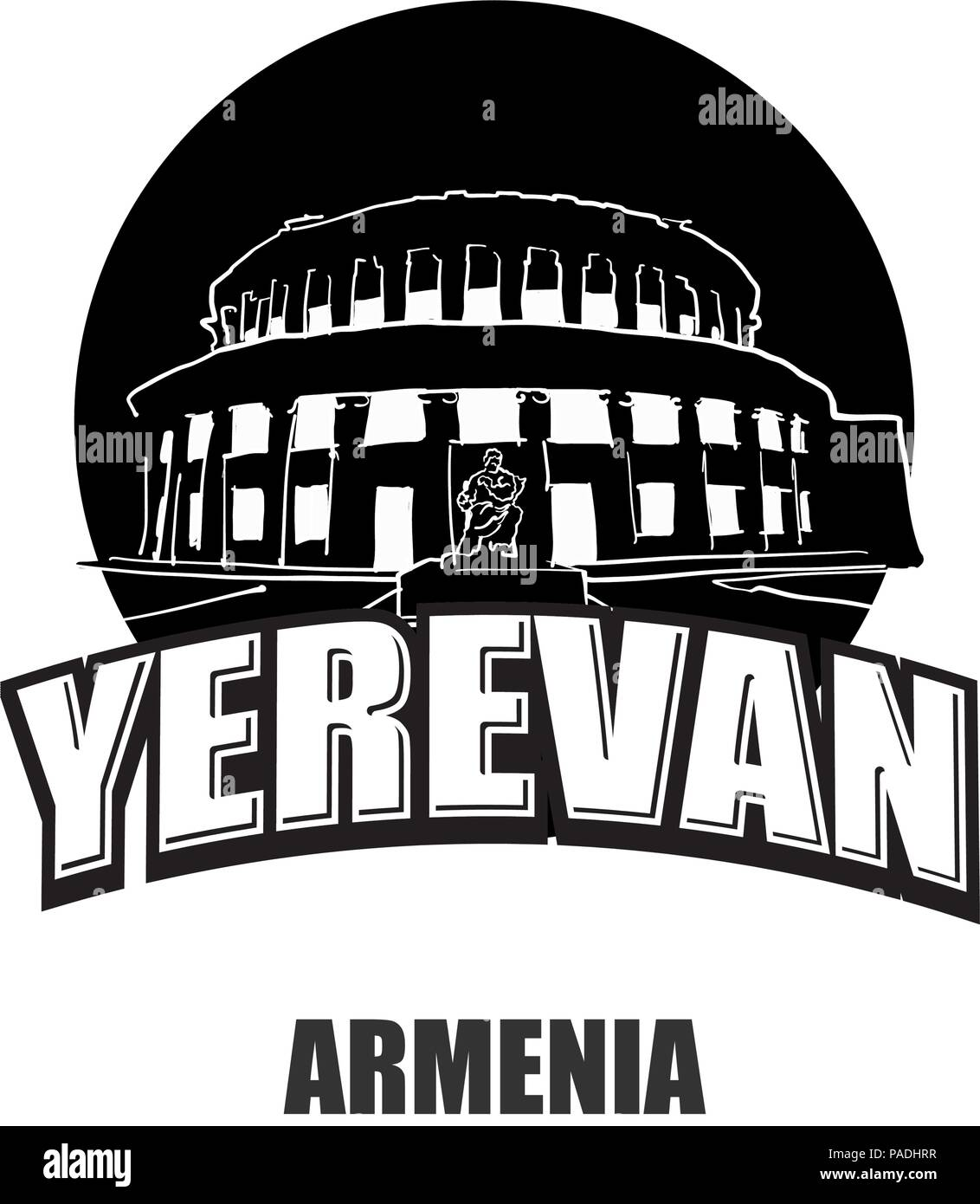 Yerevan, Armenia, black and white logo for high quality prints. Hand drawn vector sketch. - Stock Vector