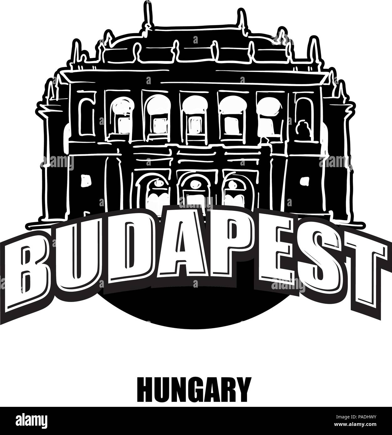 Budapest, Opera, black and white logo for high quality prints. Hand drawn vector sketch. - Stock Vector