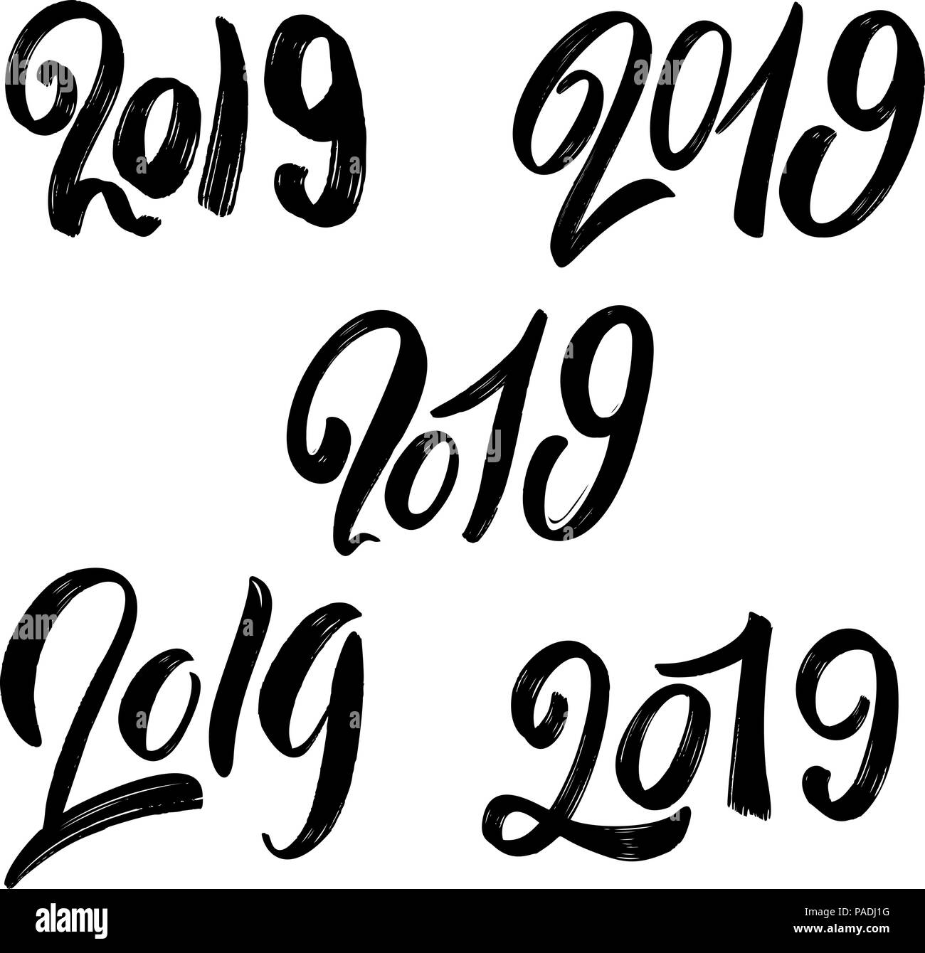 2019 new year. Set of hand lettering phrases on white background ...