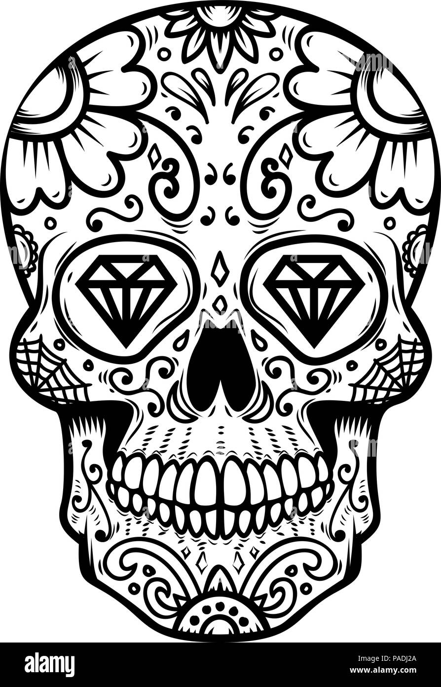 Sugar Skull Isolated On White Background Day Of The Dead Dia De Los Muertos Design Element For Poster Card Banner Print Vector Illustration Stock Vector Image Art Alamy