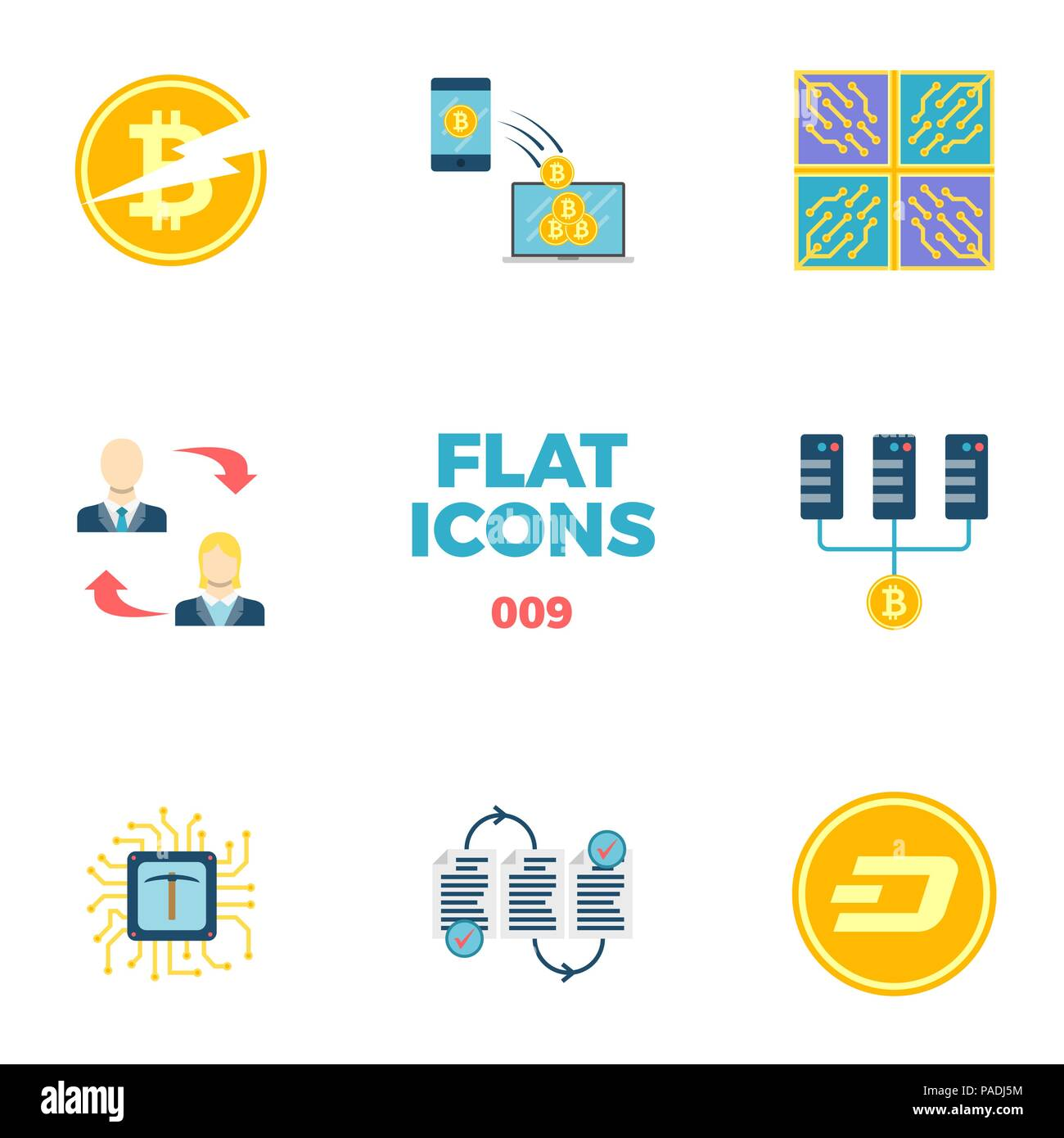 Cryptocurrency and Blockchain Flat Icons. - Stock Image