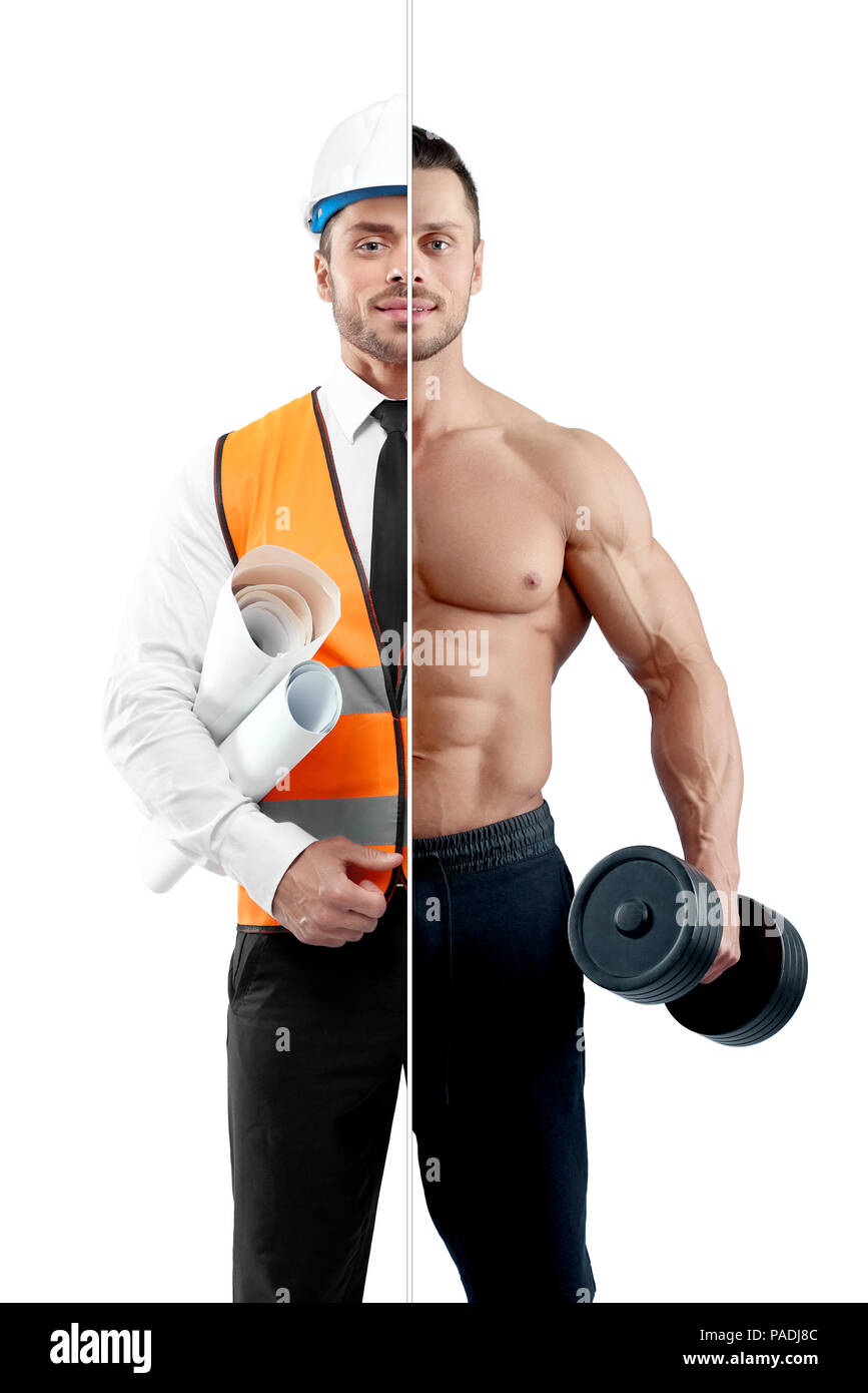 Comparison of bodybuilder and architect's outlook. Fitnesstrainer holding heavy dumbbell, wearing black trousers. Architect wearing white shirt with black tie, orange vest, helmet, keeping papers. - Stock Image