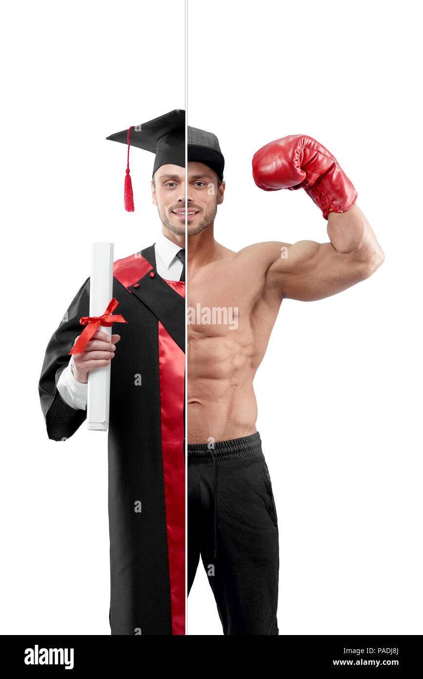Comparison of university's graduate and boxer's outlook. Student wearing black and red graduation gown, keeping diploma. Boxer wearing boxer gloves ,sport trousers, a cap. - Stock Image