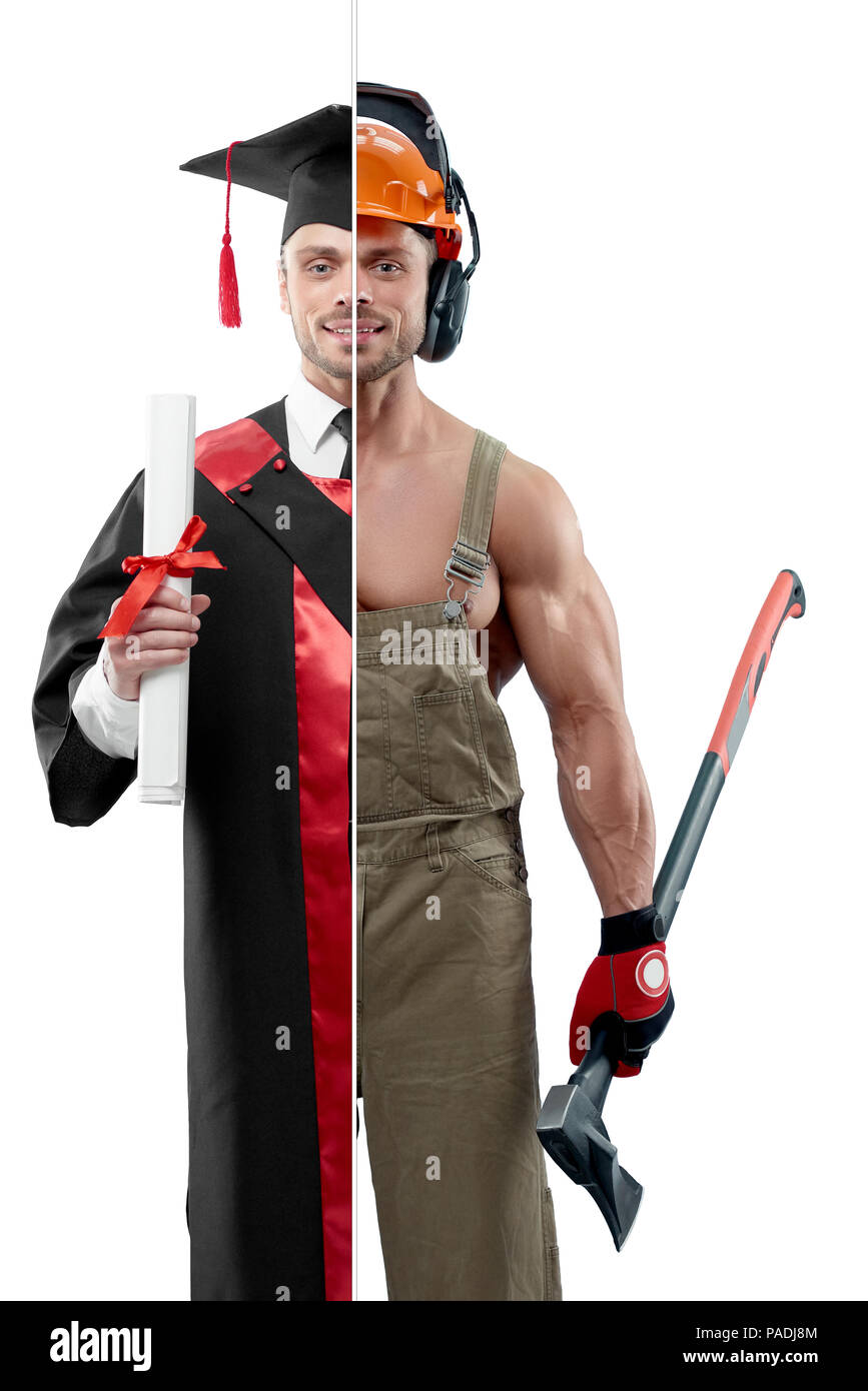 Comparison of university's graduate and woodcutter's outlook. Student wearing black and red graduation gown, keeping diploma. Woodcutter wearing uniform, protective helmet and keeping an axe. - Stock Image