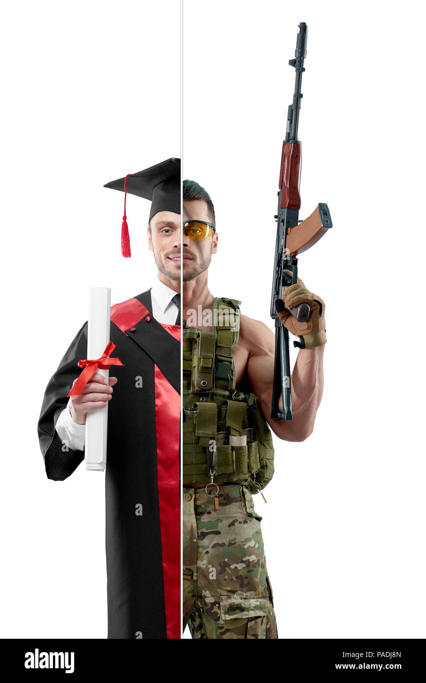 Comparison of university's graduate and military man. Student wearing black and red graduation gown, keeping diploma. Soldier wearing military uniform, having Kalashnikov automatic machine. - Stock Image