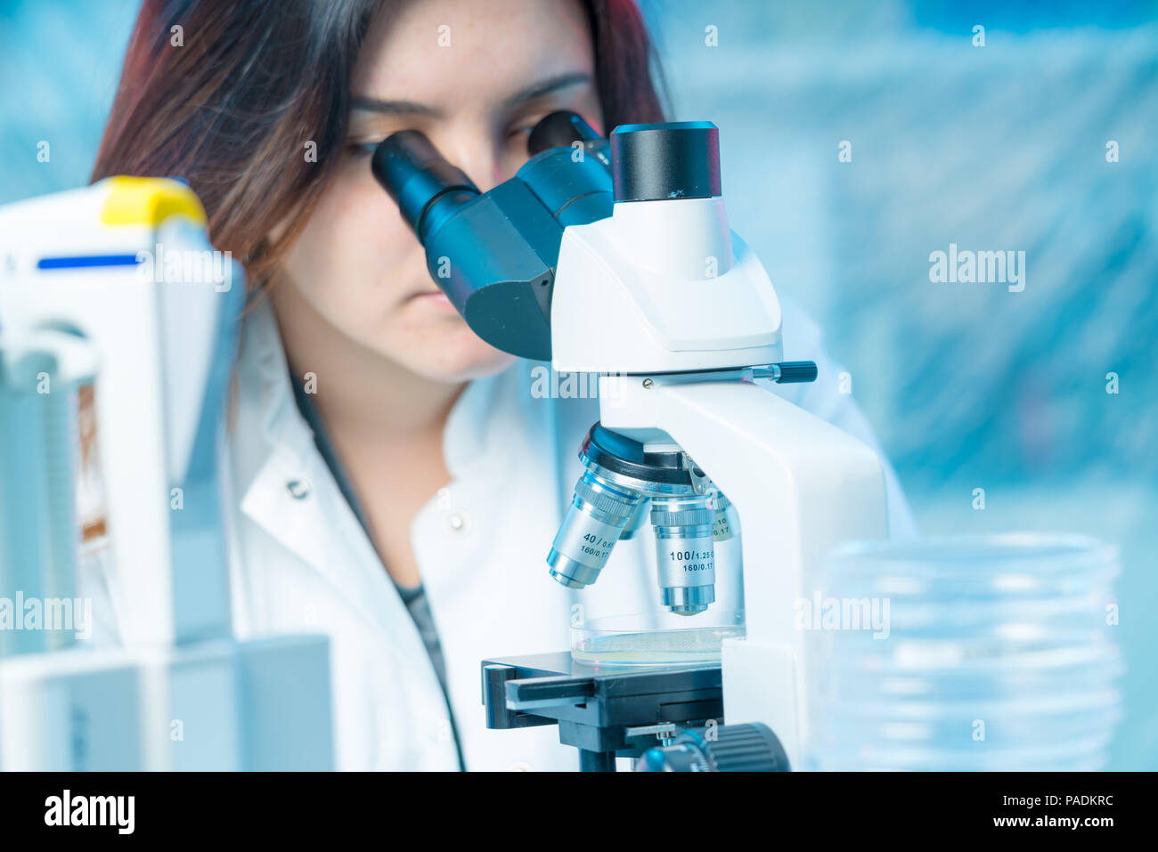 Young woman technician in a scientific laboratory with microscope slide - Stock Image