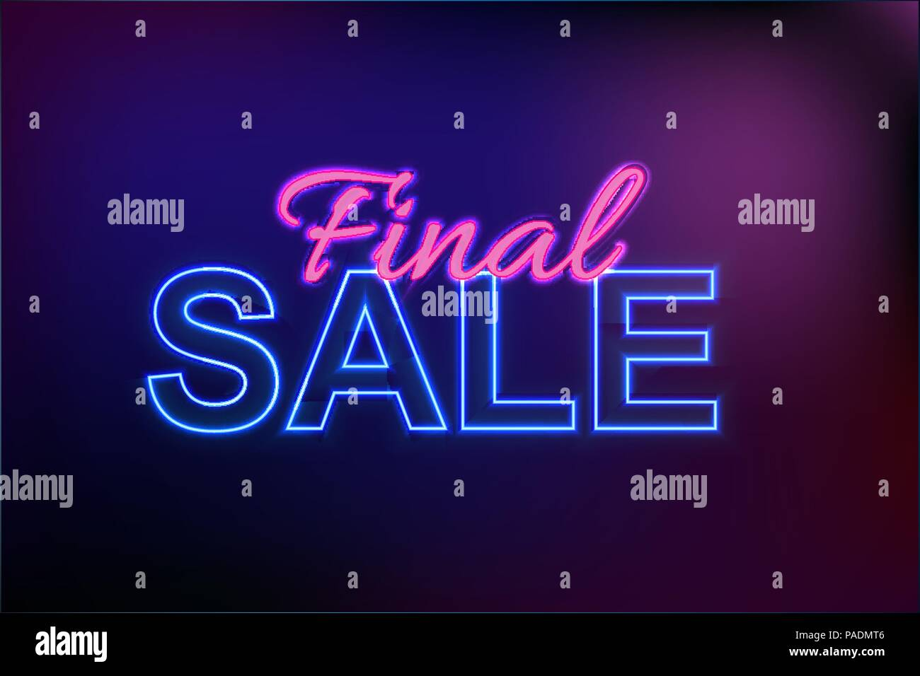 Abstract Neon Finak Sale Template on Dark Background Vector Illustration - Stock Vector