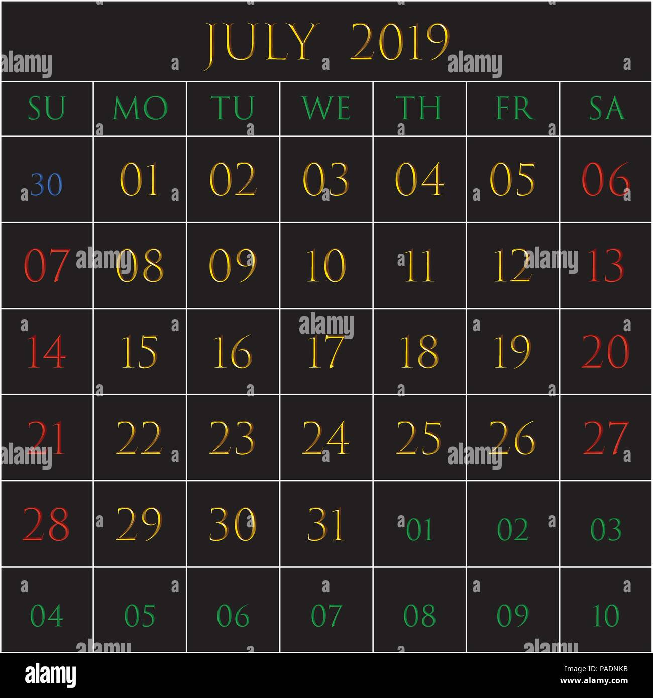 Calendario Mr Wonderful Julio 2019.Calendar Month White Background Stock Photos Calendar