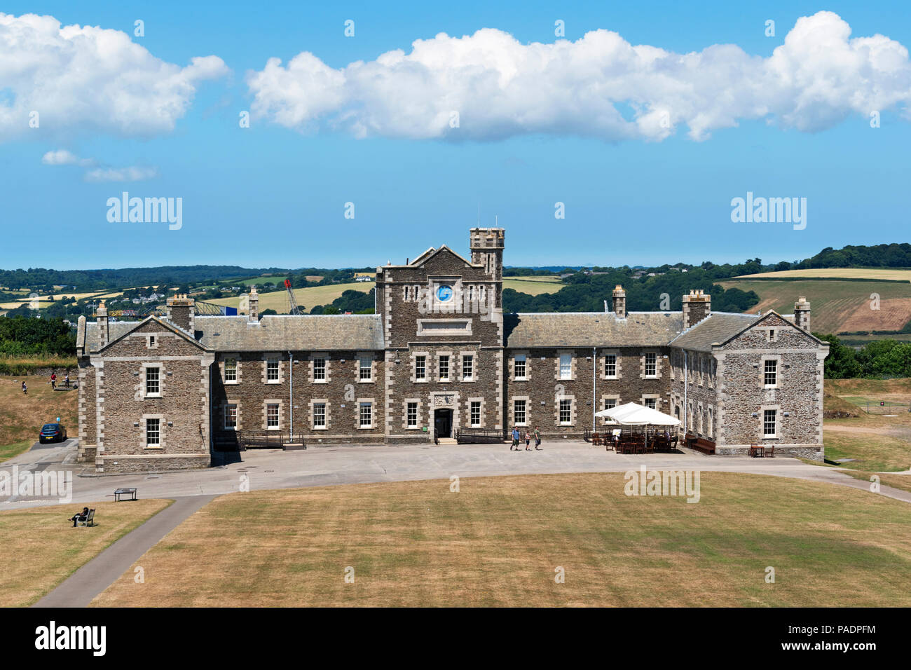 20th century barracks building in the grounds of pendennis castle, falmouth, cornwall, england, britain, uk. - Stock Image