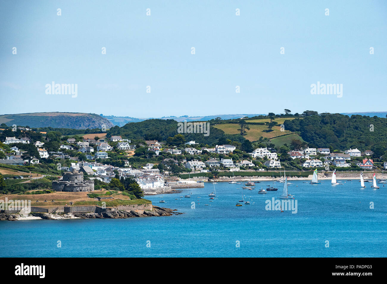 view across the carrick roads to st.mawes from falmouth, cornwall, england, britain, uk. - Stock Image