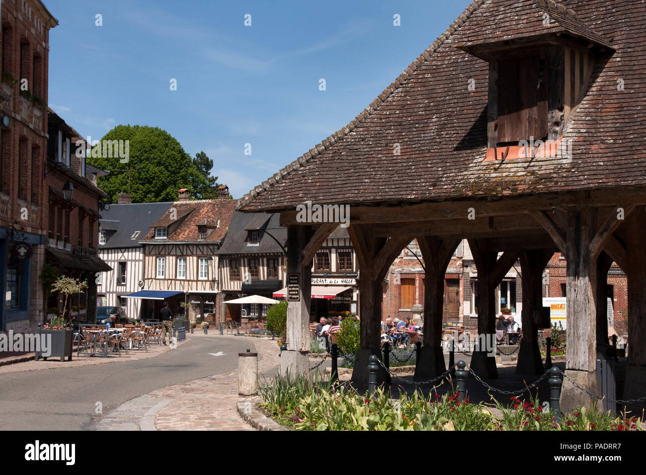 Lyons-la-Forêt & the medieval market place, Eure, Seine Maritime, Haute Normandie, Normandy, north-western France. - Stock Image
